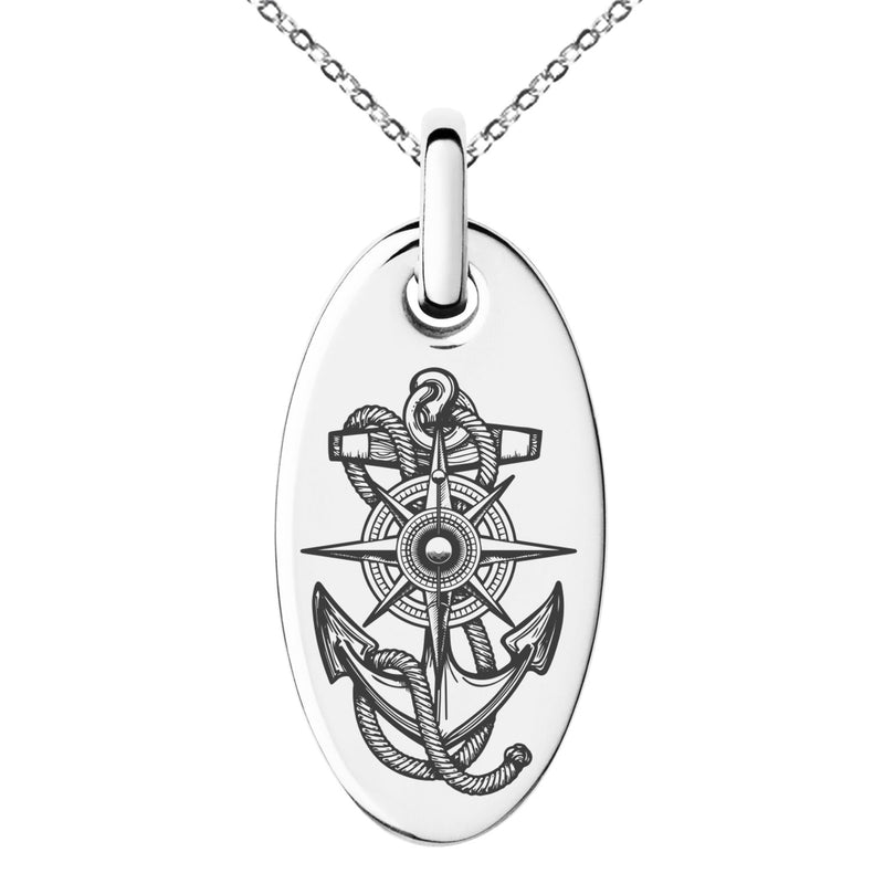 Stainless Steel Nautical Compass Dial & Anchor Engraved Small Oval Charm Pendant Necklace - Tioneer