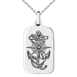Stainless Steel Nautical Compass Dial & Anchor Engraved Small Rectangle Dog Tag Charm Pendant Necklace - Tioneer