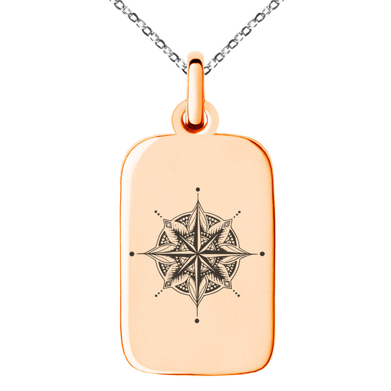 Stainless Steel Nautical Mandala Lotus Compass Engraved Small Rectangle Dog Tag Charm Pendant Necklace - Tioneer