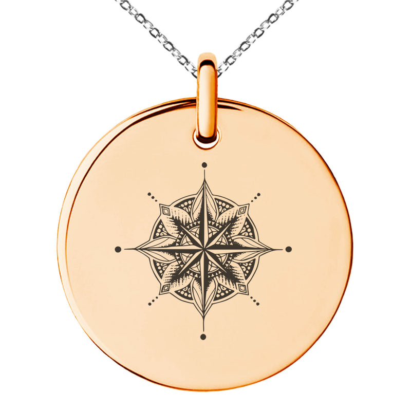 Stainless Steel Nautical Mandala Lotus Compass Engraved Small Medallion Circle Charm Pendant Necklace - Tioneer