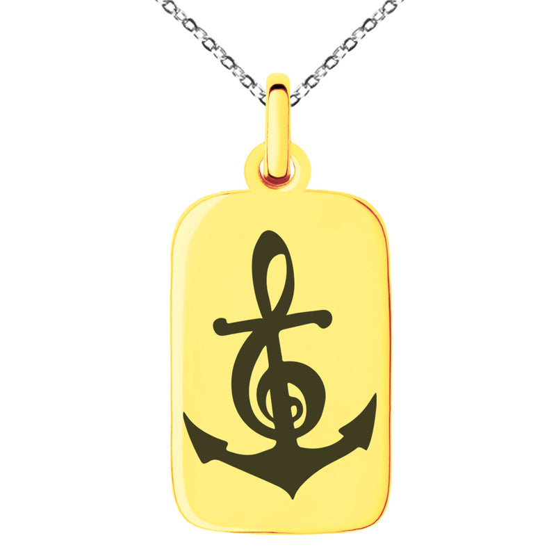 Stainless Steel Nautical Music Is My Anchor Treble Clef Engraved Small Rectangle Dog Tag Charm Pendant Necklace - Tioneer