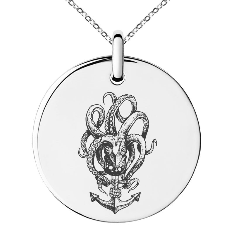 Stainless Steel Nautical Octopus Anchor Engraved Small Medallion Circle Charm Pendant Necklace - Tioneer