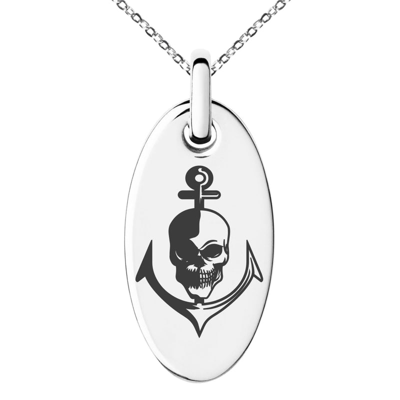 Stainless Steel Nautical Anchor & Skull Engraved Small Oval Charm Pendant Necklace - Tioneer
