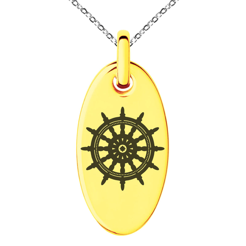 Stainless Steel Nautical Ship Helm Wheel Engraved Small Oval Charm Pendant Necklace - Tioneer