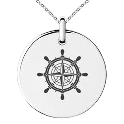 Stainless Steel Nautical Ship Helm Wheel Compass Engraved Small Medallion Circle Charm Pendant Necklace - Tioneer