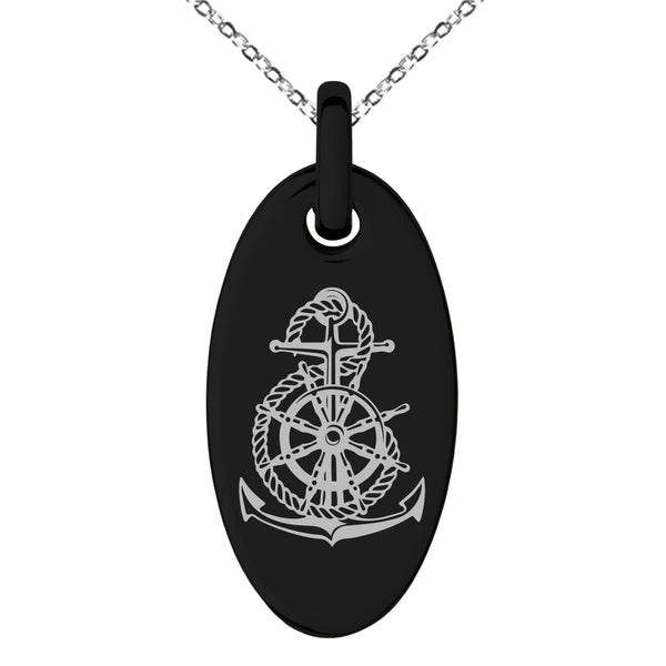 Stainless Steel Nautical Anchor Ship Helm Wheel Engraved Small Oval Charm Pendant Necklace - Tioneer