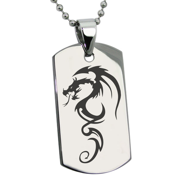Stainless Steel Shadow Dragon Engraved Dog Tag Pendant Necklace - Tioneer