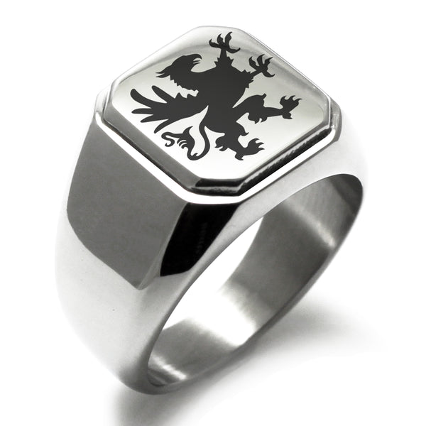 Stainless Steel Grandiose Griffin Engraved Square Flat Top Biker Style Polished Ring - Tioneer