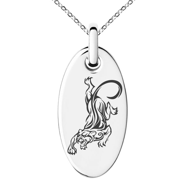 Stainless Steel Striking Tiger Engraved Small Oval Charm Pendant Necklace - Tioneer