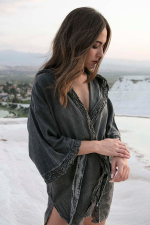 ORCHID-Lace Hooded Spa/Pool/Beach Bathrobe