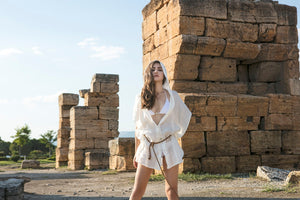 ANTIGUA- Linen Sexy Hoodie Cover up