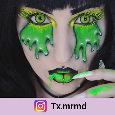 green and yellow color lenses mad hatter for original makeup
