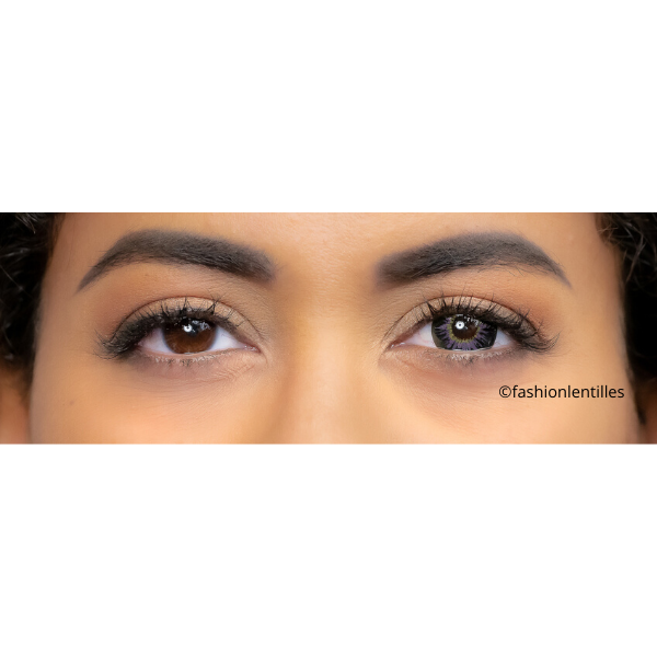 rendering of violet color lenses on brown eyes