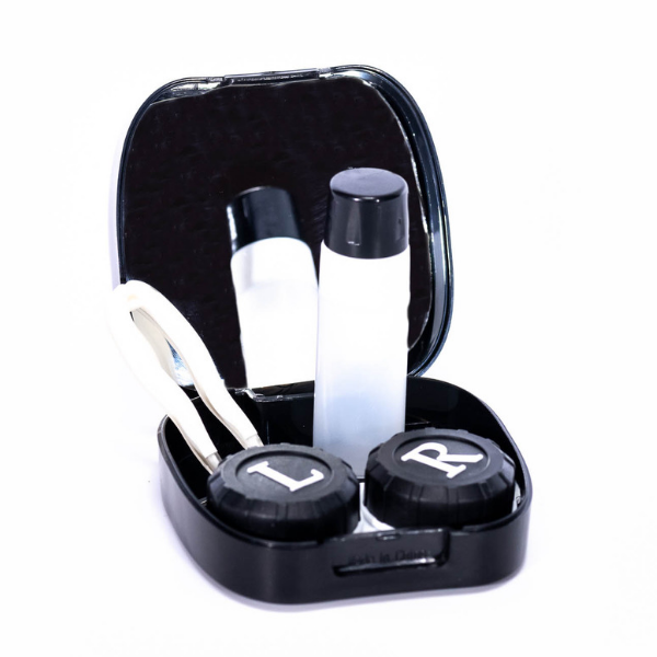 Black kit contact lenses case holder