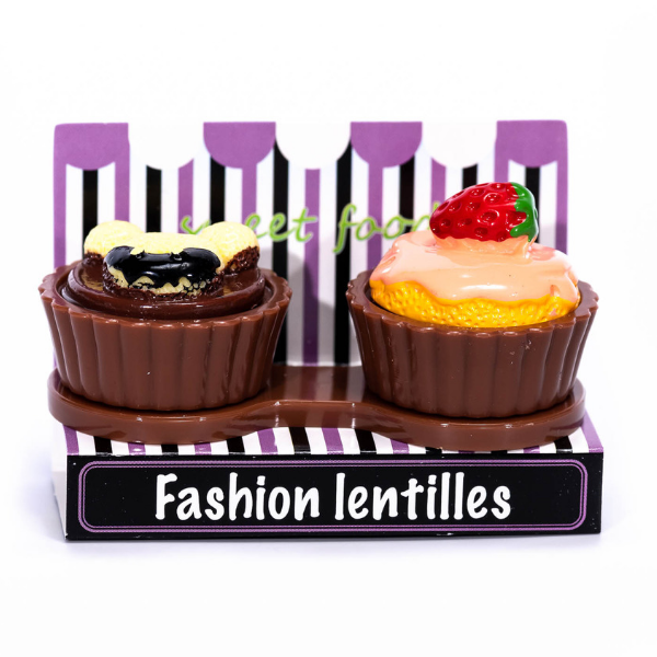 brown case holder cupcake for lenses