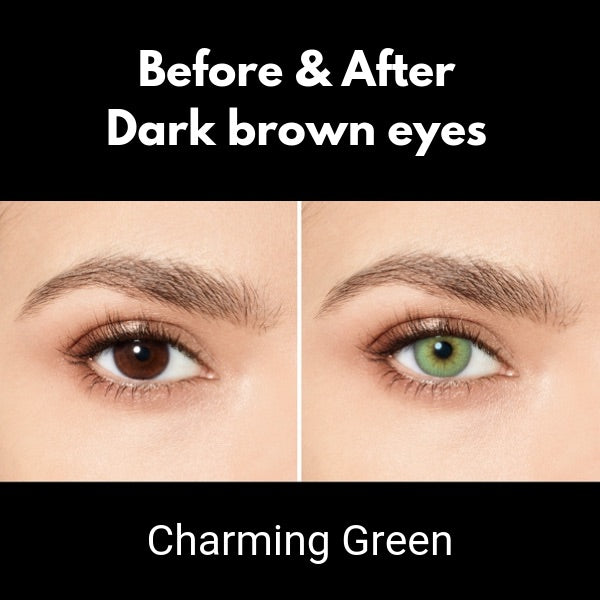 preview of green color lenses desio attitude charming green on dark brown eyes
