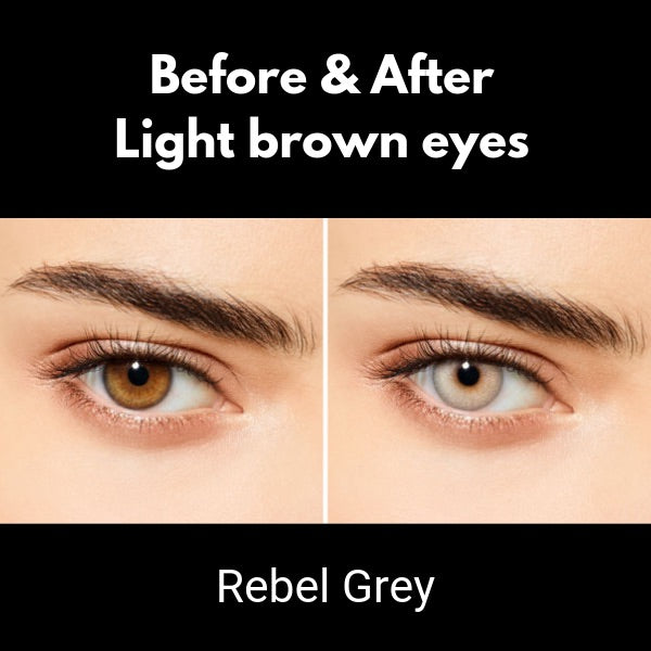 preview of lenses desio attitude rebel grey on brown eyes