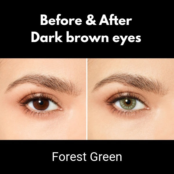 preview of color lenses desio sensual beauty forest green on dark brown eyes