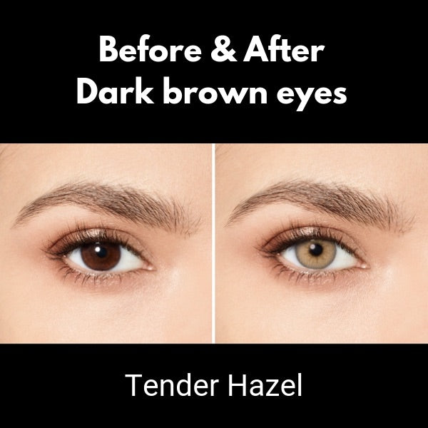 preview color lenses desio attitude tender hazel on dark brown eyes