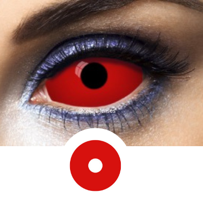 Red Contact Lenses Sclera All Red - 1 Year