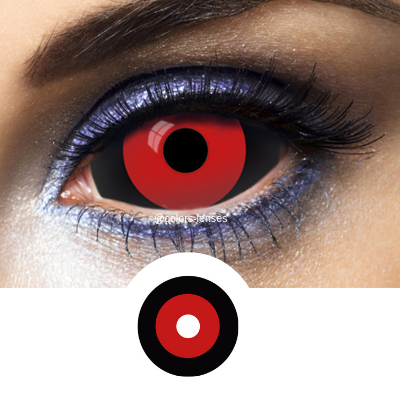 Red and Black Contact Lenses Sclera Tokyo Ghoul - Crazy Lenses 1 Year