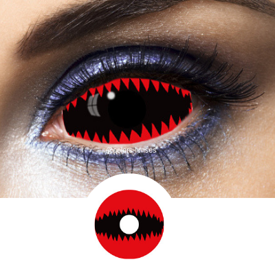 Red and Black Contacts Sclera Jaws Red - Crazy Lenses 1 Year