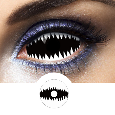 Scary eyes with white and black sclera lenses