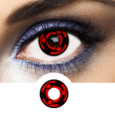 Red and Black Crazy Lenses Sharingan SH-M3 - 1 Year Use from Naruto manga