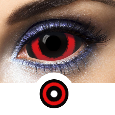 Black and Red Contacts Sclera Circle Red - Crazy Lenses 1 Year