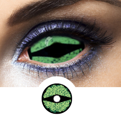 Green Sclera Contacts Green Reptilla - Crazy Lenses 1 Year