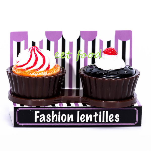 dark brown case holder cupcake for contact lenses