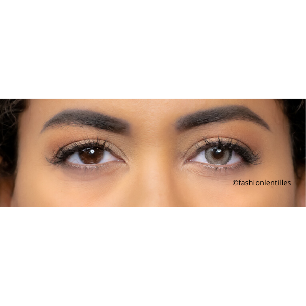 preview of brown color lenses on brown eyes