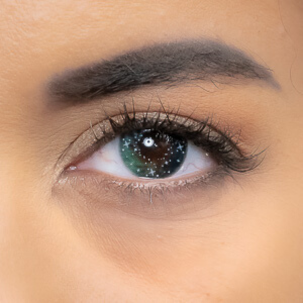 green color lenses with little stars