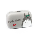 Gray and white kit contact lenses case holder bear Totoro with green leaf and RED MUSHROOM