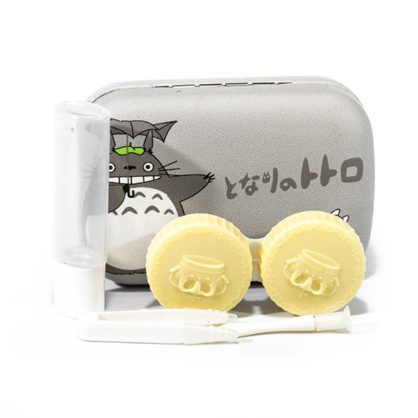 gray kit contact lenses case holder bear Totoro