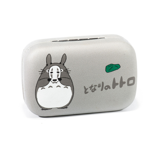 gray and white color lenses case holder bear totoro with mask