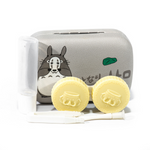 gray and white contact lenses case holder bear totoro with mask