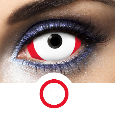 Red and White Contacts Sclera Red Line - 1 Year
