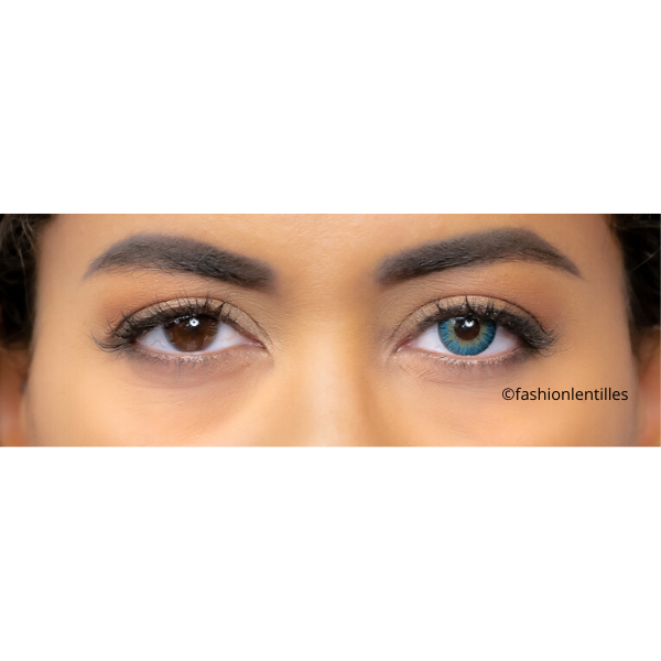 preview of color lenses on brown eyes