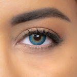 preview of turquoise color lenses on brown eyes