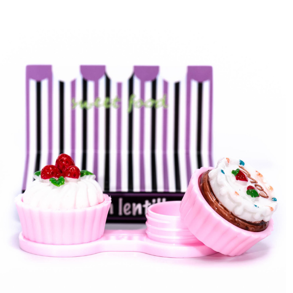 pink case holder cupcake for contact lenses