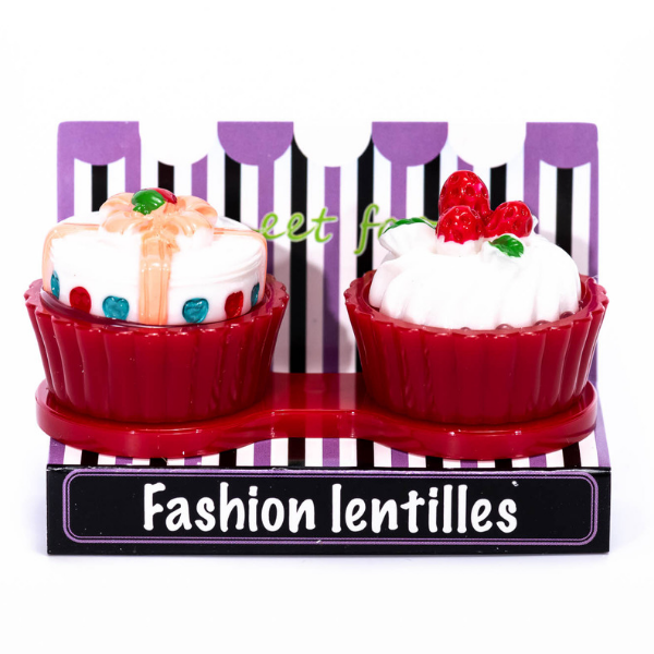 Red cupcake contact lenses case holder