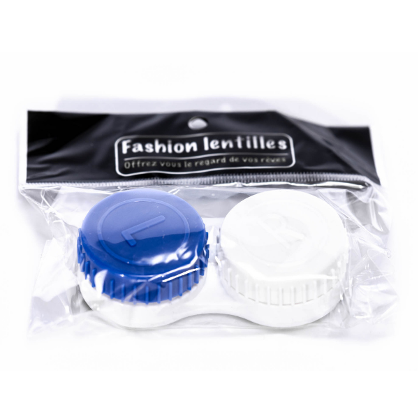 white and blue case holder lenses