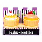 Yellow cupcake contact lenses case holder