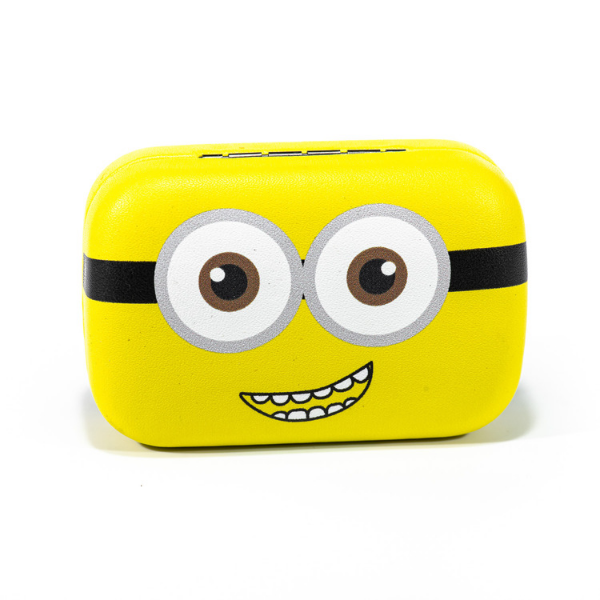 Yellow kit contact lenses case holder The Minions SMILING