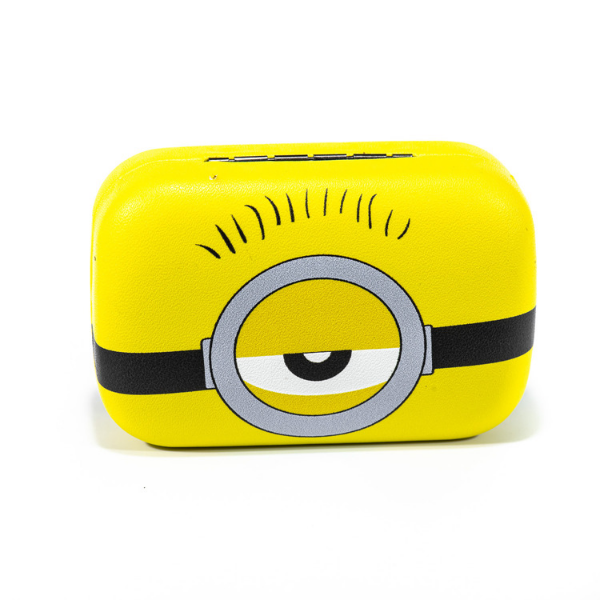 Yellow kit contact lenses case holder The Minions ONE EYE WITH HAIR