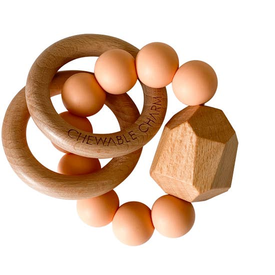 Hayes Silicone + Wood Teether - Peach