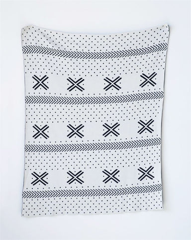Cotton Knit Blanket Black & White Pattern