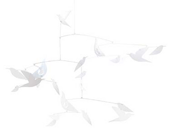 White Birds Paper Mobile Room Decoration