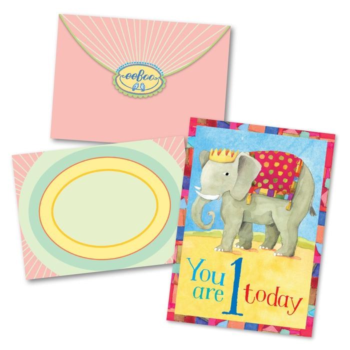 Elephant First Birthday Card